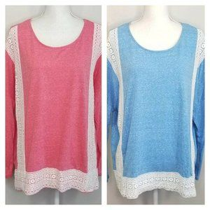 Entro Set of 2 Marl Long Sleeve Lace Front Tops L